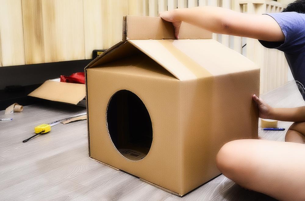 Домик своими руками для кошек из коробки