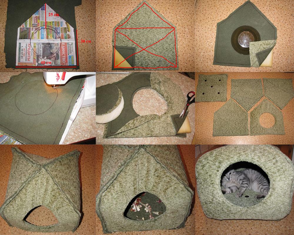 Как сшить домик для кошки своими руками: выкройки