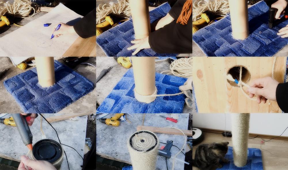 Когтеточки для кошек своими руками фото пошагово